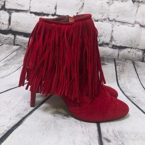 CHASE + CHLOE Red Fringe Stiletto Ankle Boot 8.5
